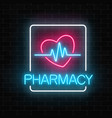 neon pharmacy glowing signboard with heart shape vector image