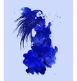 Nude women on the blue watercolor background vector image vector image