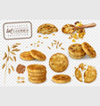 oat cookies transparent set vector image vector image