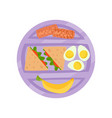 round purple lunch box with sandwiches boiled vector image