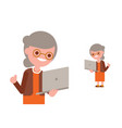 senior people using laptop happy grandma vector image vector image