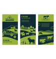 set banners on rural themes farm vector image vector image