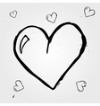 Set of white hearts hand drawn vector image