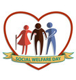 social welfare day flat symbol sign with old man vector image vector image