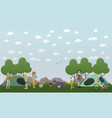 tourists making a camp in flat vector image