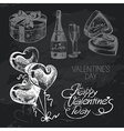 Valentines Day hand drawn chalkboard design set vector image vector image