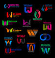 w geometric abstract corporate identity icons vector image