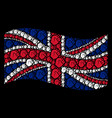 waving great britain flag collage of fist items vector image vector image