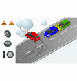 winter driving and road safety car rides on a vector image vector image