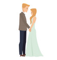 young caucasian married couple holding hands in vector image