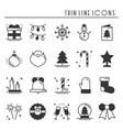 christmas holiday thin line silhouette icons set vector image