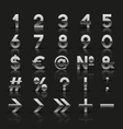 Set of decorative silver numbers and symbols vector image