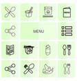 14 menu icons vector image vector image