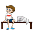 A smiling boy and cat sitting on a bench vector image vector image