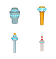 airport tower icon set cartoon style vector image vector image