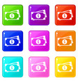 american dollars icons 9 set vector image vector image
