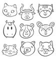 animal head style hand draw doodles vector image vector image