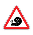 attention snail danger red road sign slow driver vector image