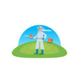 beekeeper collects honey from bees in nature a vector image vector image