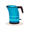 bright blue steel kettle with black plastic handle vector image