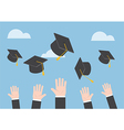 Businessman hands throwing graduation hat in the a vector image vector image