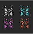 butterflies logo monogram set fashion linear art vector image