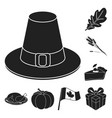canada thanksgiving day black icons in set vector image vector image