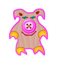 cloth doll pig pink toy handmade work vector image