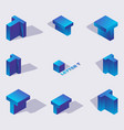 collection with isometric 3d blue letters t vector image