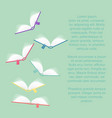 colored books fly in the air background with place vector image