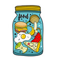 colorful of food jar isolated on vector image