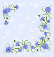 corner composition with cornflowers and leaves vector image vector image