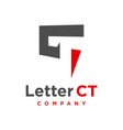 ct letter logo design template vector image vector image