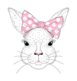 cute bunny portrait Hand drawn rabbit girl face vector image