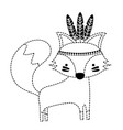 dotted shape cute fox animal with feathers design vector image vector image
