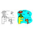 english alphabet coloring book f vector image vector image