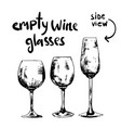 epmty different wine glasses vector image