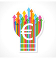 Euro symbol on colorful arrow bulb vector image vector image