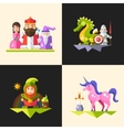 Fairy tales flat design magic cartoon characters vector image vector image