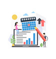 flat agenda in calendar concept with people vector image vector image