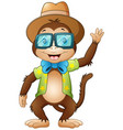 funny hipster monkey waving vector image
