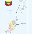 grenada administrative map with flag vector image vector image