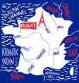 hand drawn stylized map france travel with vector image