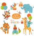 Happy birthday animals vector image vector image