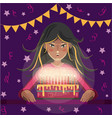 happy birthday greeting card cartoon girl with vector image