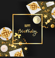 happy birthday greeting card with festive items vector image
