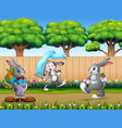 happy bunnies running on the nature background vector image vector image