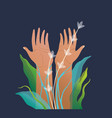 human hands raised palms up floral composition on vector image vector image