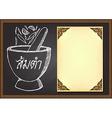 Isan food or Thaifood menu on chalkboard vector image vector image