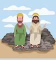 jesus the nazarene and bartholomew in scene in vector image vector image